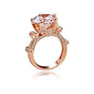 Rose Gold Plated Diamond Wedding Engagement Ring 7